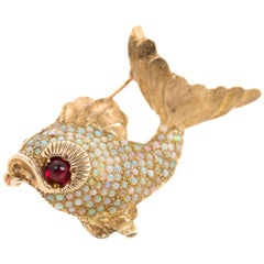 1950s Koi Fish Brooch with Opals and Garnet in 18 Karat Yellow Gold