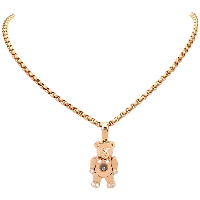 Chopard Teddy Bear Happy Diamonds Yellow Gold Pendant Necklace