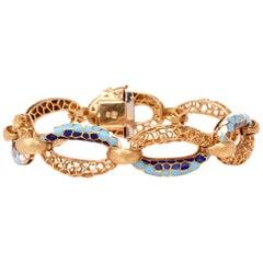 Vintage Italian Enamel 18-Karat Yellow Gold Enamel Link Bracelet