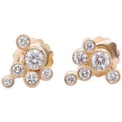 14 Karat Yellow Gold Cluster Diamond Earrings