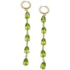 18 Karat Yellow Gold Peridot and Brown Diamonds Garavelli Long Earrings