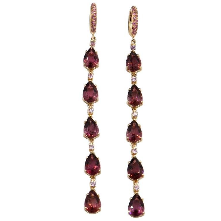18 Karat Rose Gold Pink Tourmaline and Pink Sapphires Long Garavelli Earrings