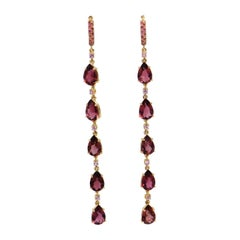 18 Karat Rose Gold Pink Tourmaline and Pink Sapphires Long Earrings