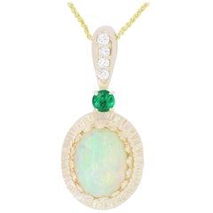 1.97 Carat Opal, 0.17 Carat Emerald and White Diamond Pendant