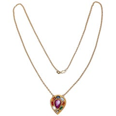 Navratna Necklace in 18 Karat Yellow Gold
