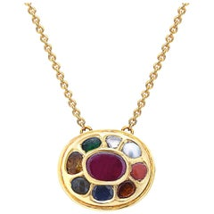 Oval Shape Navratna Necklace in 18 Karat Yellow Gold