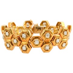 Tiffany & Co. Gold and Diamond Honeycomb Bracelet and Pendant