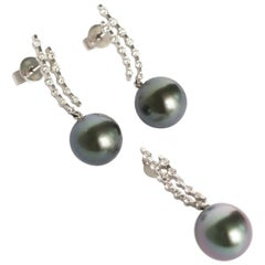 Diamond and Pearl Earrings and Pendant Set