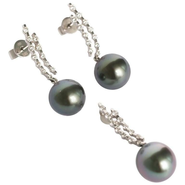 Diamond and Pearl Earrings and Pendant Set