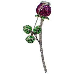 Ruby, Pink Sapphire, Tsavorite and Diamond Brooch