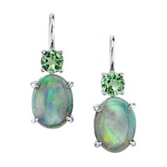 3.13 Carat Oval Opal with .58 Carat Garnet 18 Karat White Gold Earrings
