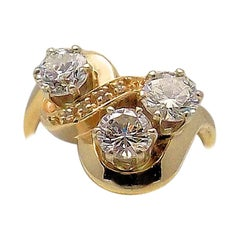 14 Karat Yellow Gold Diamond Cocktail Ring