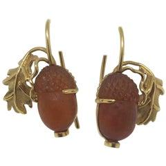 18.78 Carat Garnet Carved Acorns 18 Karat Yellow Gold Earrings