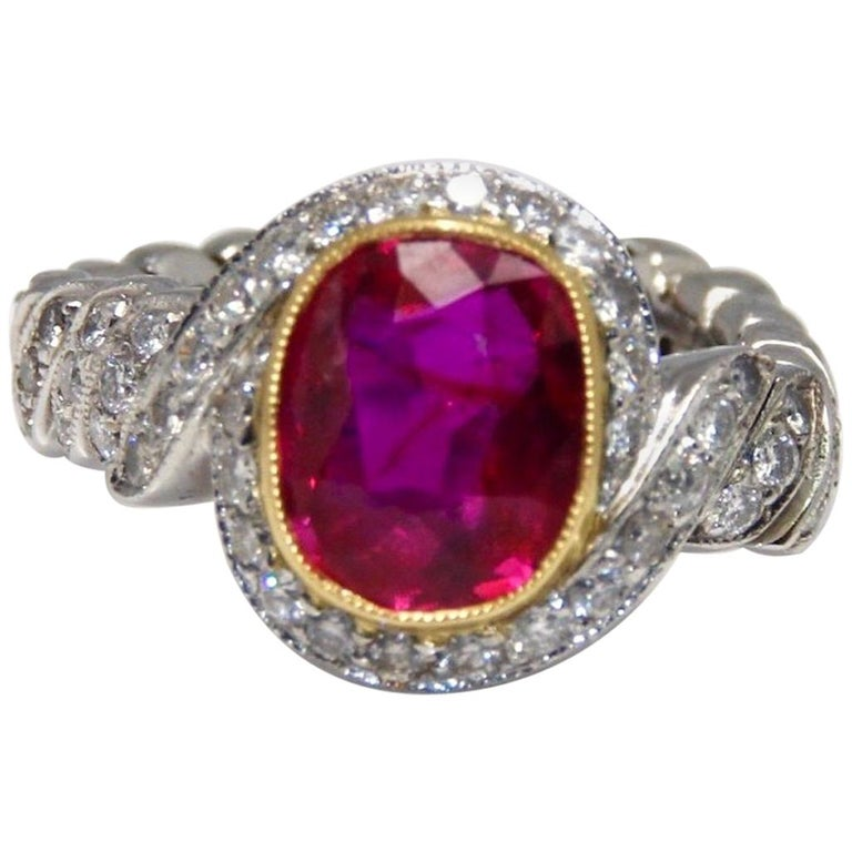 Natural Certified Burma Ruby and Diamond Unusual Ring Weighing 2.76 Carat