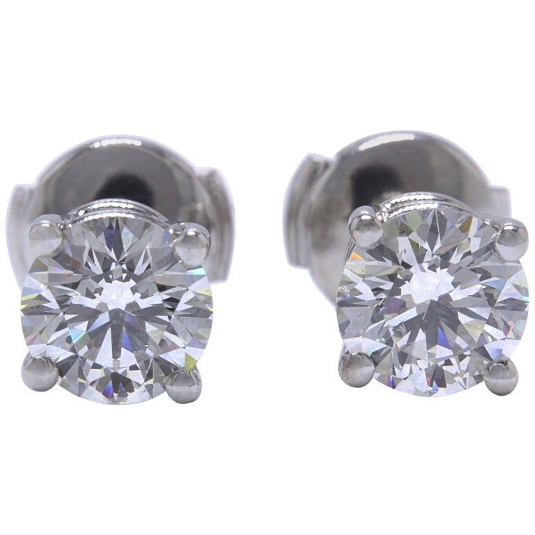 Tiffany & Co Round Brilliant Diamond Stud Earrings 2.04 TCW I VVS2-VS1 Platinum For Sale