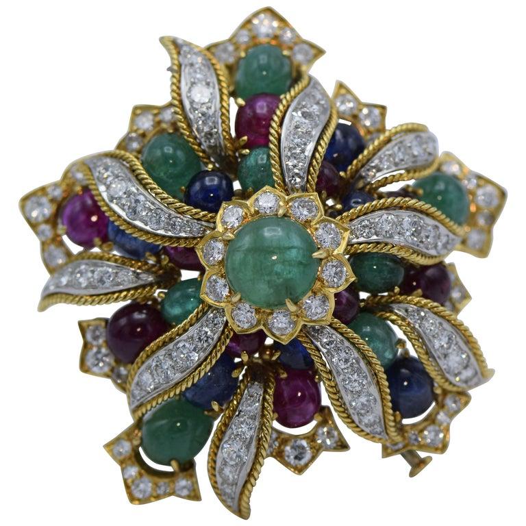 David Webb, Emerald, Sapphire, Ruby and Diamond Clip Brooch