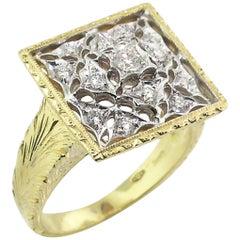 18 Karat Gold Florentine Engraved Diamond Ring, Made in Italy