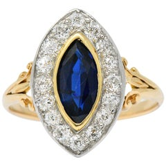 Victorian 1.25 Carat Sapphire, Diamond Platinum and 14 Karat Gold Ring