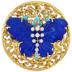 18k Gold Peter Lindeman 1960s-70 Lapis Turquoise VS Diamond Brooch Pendant Pin
