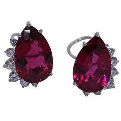 Marlene Stowe White Gold Diamond and Rubellite Tourmaline Earrings