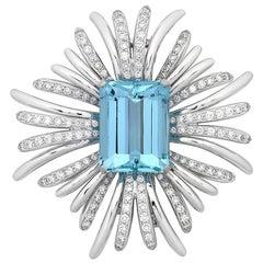 28.00 Carat Aquamarine and Diamond Brooch