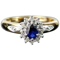 Blue Sapphire and Diamond 14 Karat Gold Ring