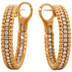 18 Karat Yellow Gold and Diamond Hoop Earrings