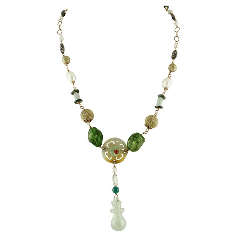 Agate Jade Pearls Rose Gold and Silver Necklace