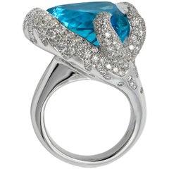 30.59 Carat Blue Topaz 18 Karat White Gold Triangle Cocktail Ring