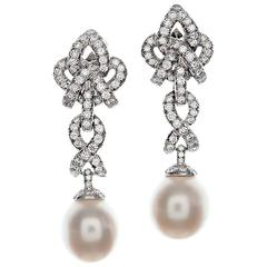 HENRY DUNAY Pearl, Diamond & Platinum Dangle Earrings