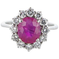 Pink Sapphire Oval Cut Diamonds Cluster Daisy White Gold Ring