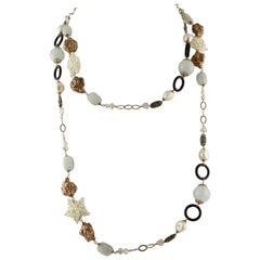 Onyx Milk Aquamarine Pearls Light-Pink Quartz Rose Gold and Silver Necklace