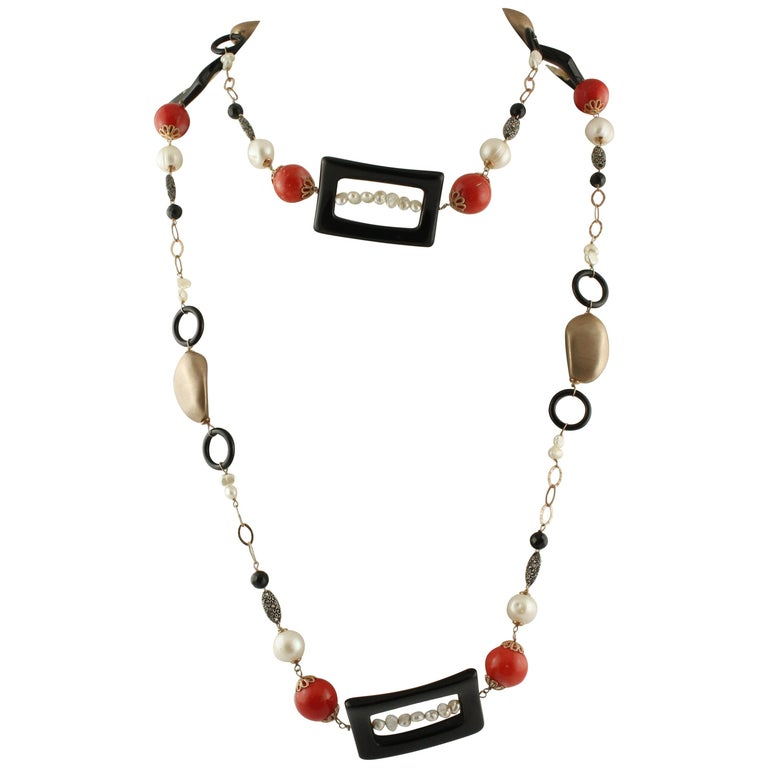 Onyx Pearls Little Pearls Red Bambù Rose Gold and Silver Necklace