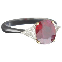 Amazing 2.08 Carat Cushion Ruby Ring Certified Three-Stone Rings Diamond Rings