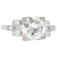 2.54 Carat 1950s Platinum Round Brilliant Diamond Engagement Ring GIA
