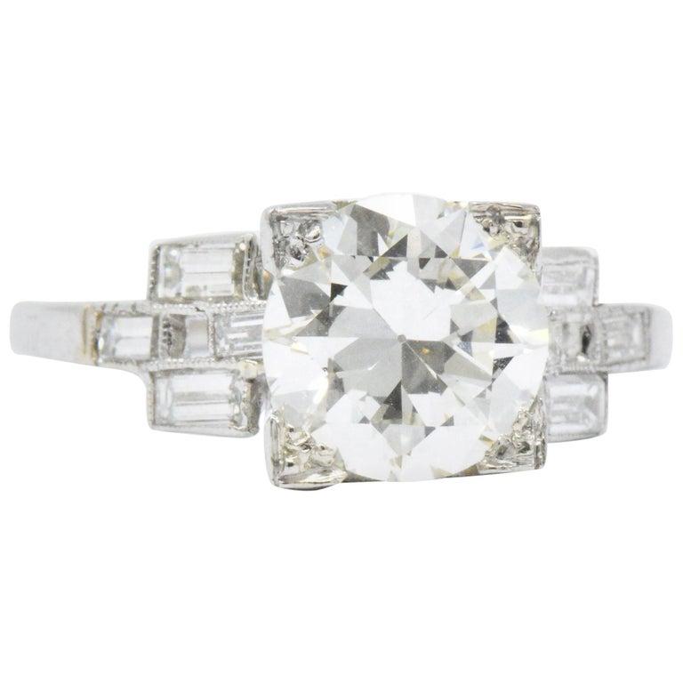 1950's 2.54 CTW Diamond Platinum Alternative Ring GIA Certified