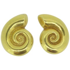Lalaounis 18 Carat Yellow Gold Swirl Ear Clips