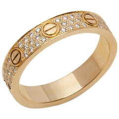 Cartier 18 Karat Yellow Gold Round Brilliant Cut Diamond Love Ring