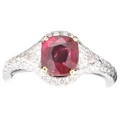 2.02 Carat Three-Stone Ruby Rings 18K White Gold Ring 0.42 Carat Diamond Rings
