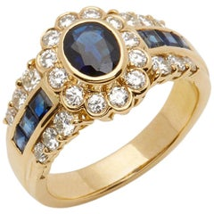 Cartier 18 Karat Yellow Gold GIA Oval Cut Sapphire Diamond Vintage Ring