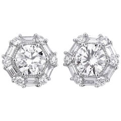 GIA Certified White Gold Diamond Stud Earrings, 1.75 Carat