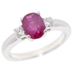 Rose Ruby and White Diamond on White Gold 18 Karat Engagement Ring
