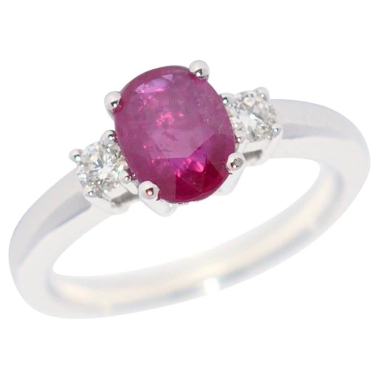 Rose Ruby and White Diamond on White Gold 18 Karat Engagement Ring For Sale