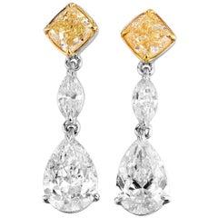 GIA Certified White Gold Diamond Earrings, 3.16 Carat