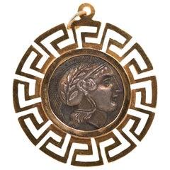 1940s Greek Coin Pendant, 18 Karat Yellow Gold