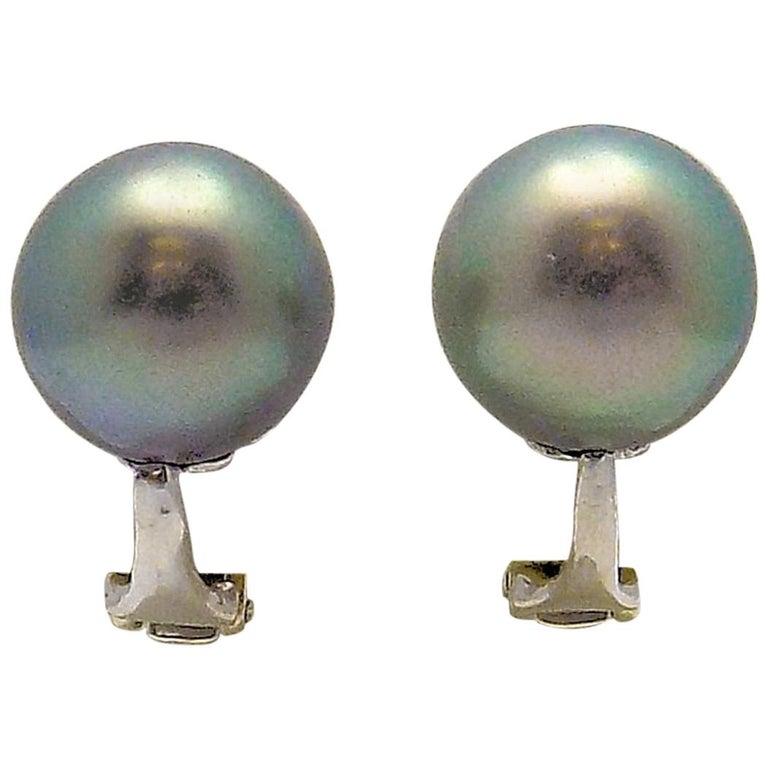 Tahitian South Sea Cultured Pearl Clip Earrings