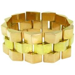 Retro Geometric Rose and Green Tank Bracelet