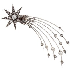 """English Edwardian Diamond Silver and Gold """"Halley's Comet"""" Brooch"""