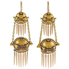 English Antique Gold and Enamel Fringed Earrings