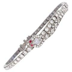 Oscar Heyman Art Deco Diamond Ruby Platinum Snake Bracelet